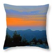 Dawn Over Cross Forest Throw Pillow