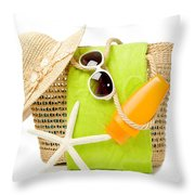 Day At The Beach Throw Pillow by Amanda Elwell
