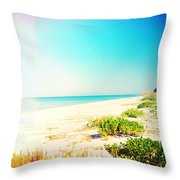 Day At The Beach Photography Light Leaks Throw Pillow