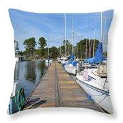 Sailboats On The Boardwalk Throw Pillow