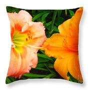 Day Lilies As Happy Friends Throw Pillow