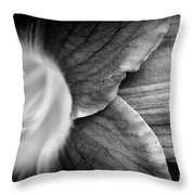 Day Lily Detail - Black And White Throw Pillow