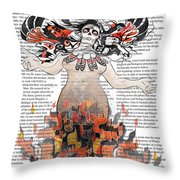 Day Of The Dead Gaia In Flames With Text Illustration Print Throw Pillow