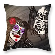 Day Of The Dead Good Vs Evil Throw Pillow
