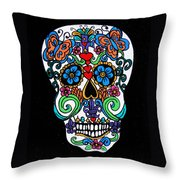 Day Of The Dead Skull Throw Pillow