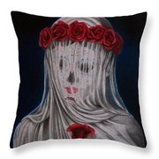 Day Of The Dead Veiled Bride Throw Pillow