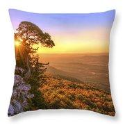 Daybreak On Mt. Magazine - Arkansas - Cedar Tree - Autumn Throw Pillow