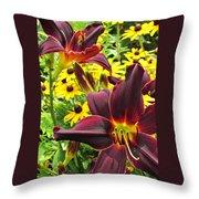 Daylilies And Rudbeckia Throw Pillow