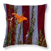Daylily And Old Glory Throw Pillow