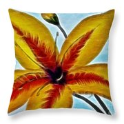 Daylily Expressive  Brushstrokes Throw Pillow