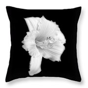 Daylily Flower Portrait Black And White Throw Pillow