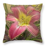 Daylily In Gold Leaf Throw Pillow