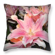 Pink Daylily In Bloom Throw Pillow