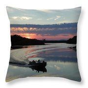 Day's End On The Sebec River Throw Pillow