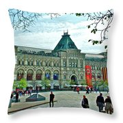 Daytime View Of Gum-former State Department Store-in Red Square In Moscow-russia Throw Pillow