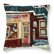 De Bullion Street Depanneur Kik Cola Montreal Streetscenes Throw Pillow