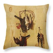 Dead Birds Oil On Canvas Throw Pillow