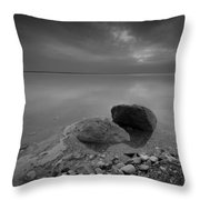 Dead Sea Sunrise Black And White Throw Pillow by David Morefield