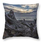 Dead Tree On Beach Throw Pillow