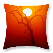 Dead Tree Silhouette And Glowing Sun Throw Pillow by Johan Swanepoel