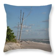 Dead Trees At The Seaside Throw Pillow