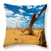 Dead Trees In A Desert Wasteland Throw Pillow