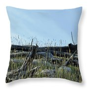 Deadfall And Grasses And Brushed Blue Skies Throw Pillow