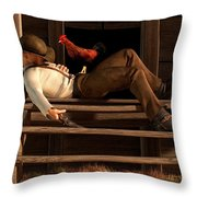 Deaf To The Rooster's Call Throw Pillow by Daniel Eskridge