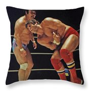 Dean Ho Vs Don Muraco In Old School Wrestling From The Cow Palace Throw Pillow