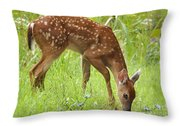 Little Fawn Blue Wildflowers Throw Pillow