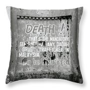 Death Warning Throw Pillow