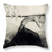 Death With Two Children Carried On His Scythe Throw Pillow by Michel Fingesten