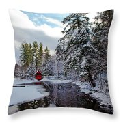 December Afternoon At The Red Boathouse Throw Pillow