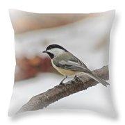 December Chickadee Throw Pillow
