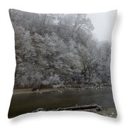 December Morning On The River Throw Pillow