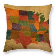 Declaration Of Independence Word Map Of The United States Of America Throw Pillow
