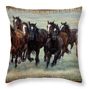 Deco Horses Throw Pillow by JQ Licensing