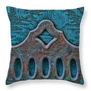 Deco Metal Blue Throw Pillow