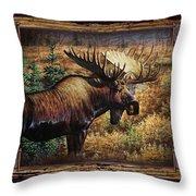Deco Moose Throw Pillow