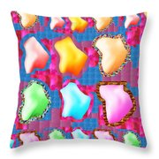 Deco Pattern Patchup Collage Crystals Jewels Rose Flower Petals Throw Pillow
