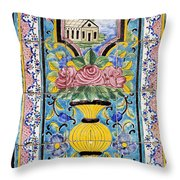 Decorated Tile Work At The Golestan Palace In Tehran Iran Throw Pillow
