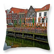 Decorations For Orange Day To Celebrate The Queen's Birthday In Enkhuizen-netherlands Throw Pillow