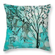Decorative Abstract Floral Birds Landscape Painting Bird Haven I By Megan Duncanson Throw Pillow