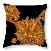 Decorative Golden Floral Fractal Leaves Throw Pillow