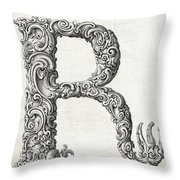 Decorative Letter Type R 1650 Throw Pillow