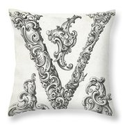 Decorative Letter Type V 1650 Throw Pillow