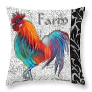 Decorative Rooster Chicken Decorative Art Original Painting King Of The Roost By Megan Duncanson Throw Pillow