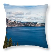 Deep Blue Crater Lake Throw Pillow