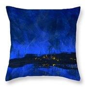 Deep Blue Triptych 2 Of 3 Throw Pillow