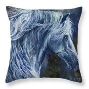 Deep Blue Wild Horse Throw Pillow